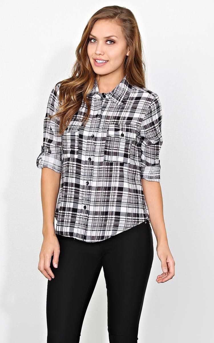 Street Vibes Plaid Top - - Black Combo in Size by Styles For Less