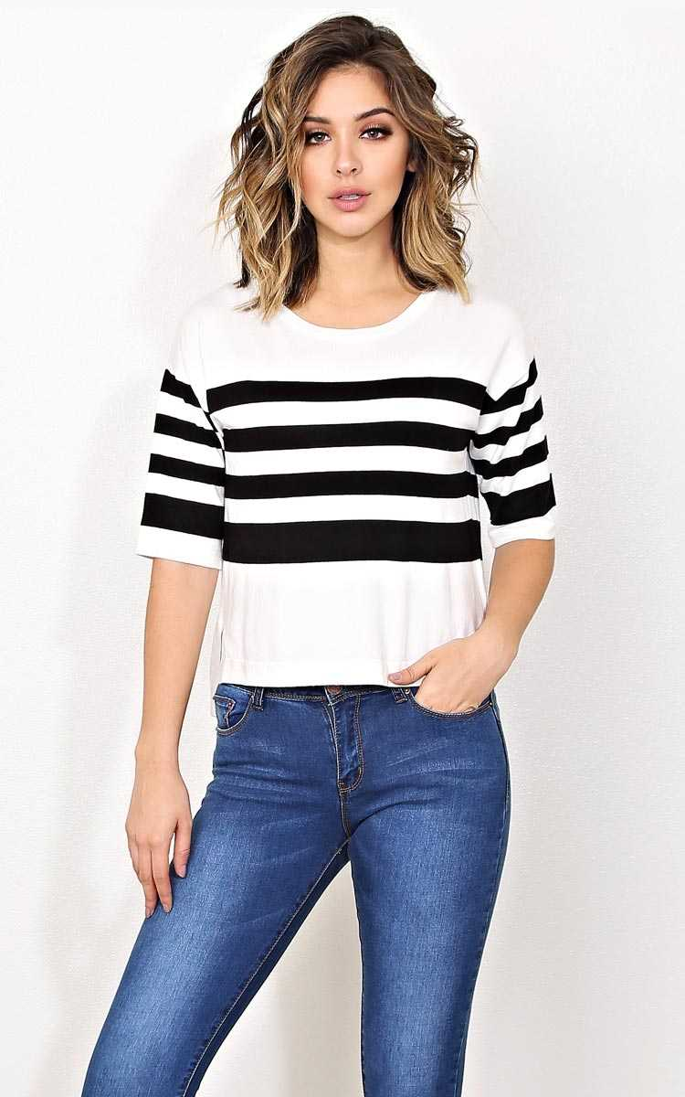 Fara Striped Knit Sweater - - White/Black in Size by Styles For Less