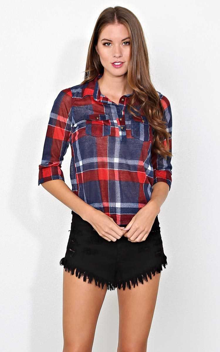 Downtown Plaid Knit Top - MED - Navy Combo in Size Medium by Styles For Less