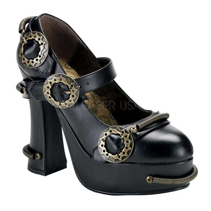 Black Faux Leather Cog Sprocket Steampunk High Heels
