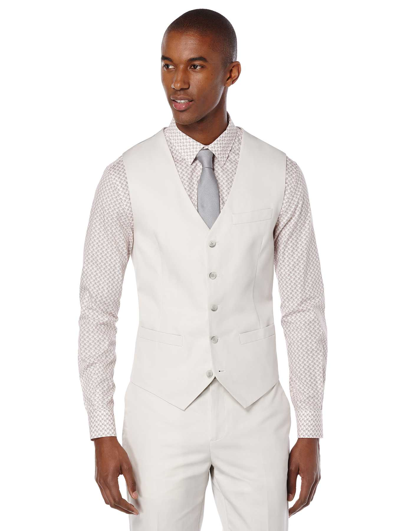Perry Ellis Slim Fit Solid Slub Linen Suit Vest