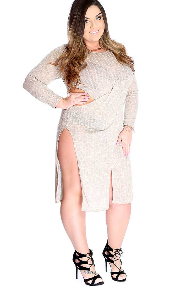 Sexy Beige Knitted Cut Out Side Slit Plus Size Party Dress