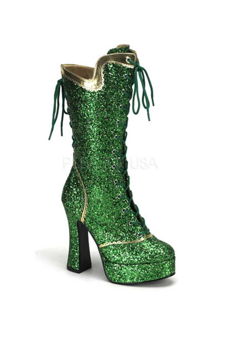 Green Chunky Lace-Up Platform High Heel Boots