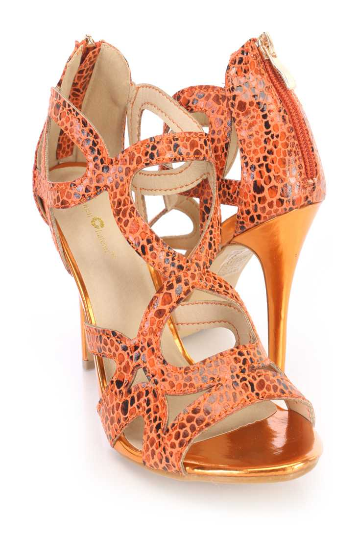 Coral Printed Strappy Single Sole Heels Fabric