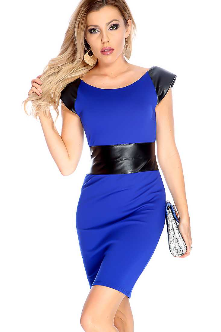 Sexy Royal Blue Two Tone Faux Leather Bodycon Party Dress