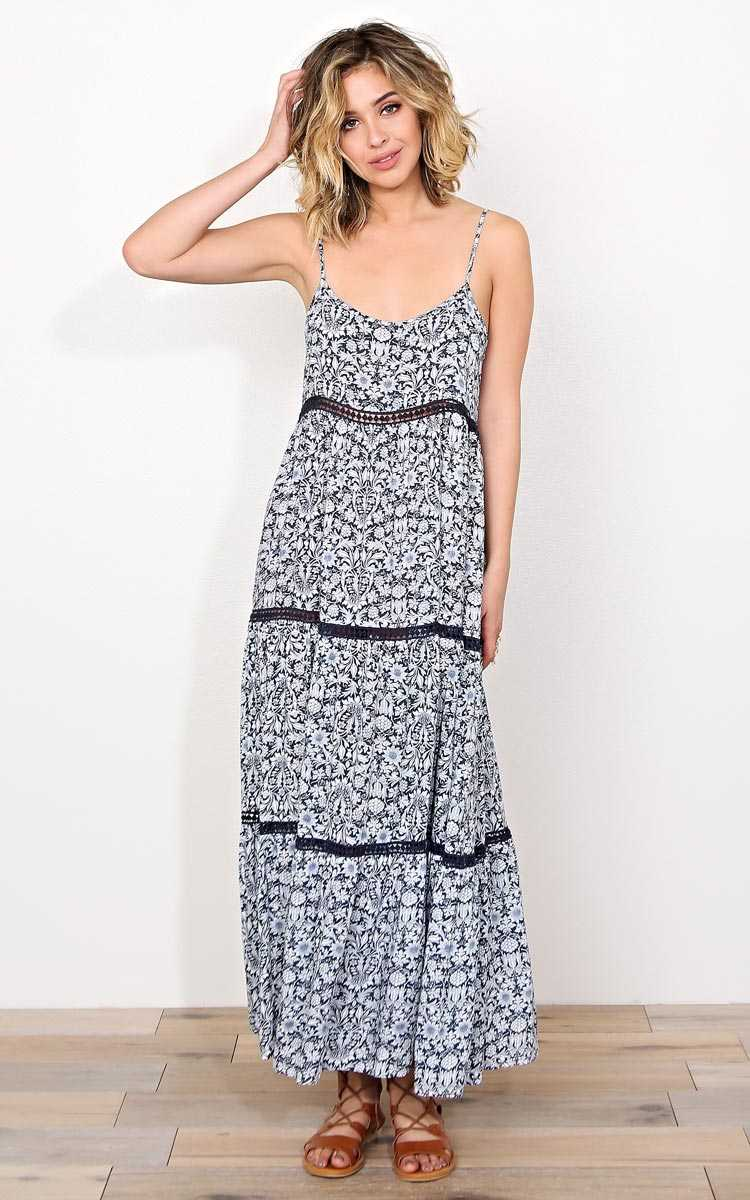 Spring Fields Woven Maxi Dress - LGE - Cobalt in Size Large by Styles For Less