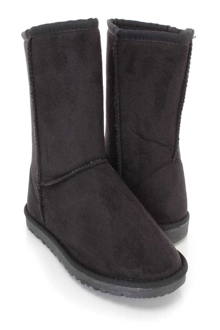 Black Slip On Casual Comfy Boots Faux Suede