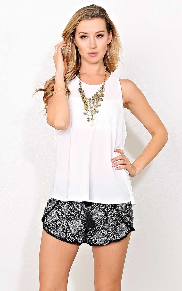 Gizelle Woven Crepe Tank - SML - White in Size Small by Styles For Less