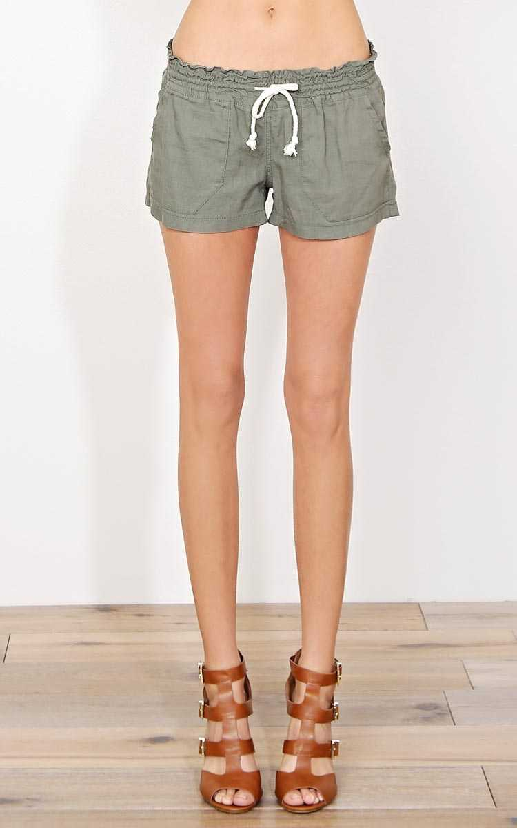 Olive Beach Front Linen Shorts - - Dk Olive in Size by Styles For Less