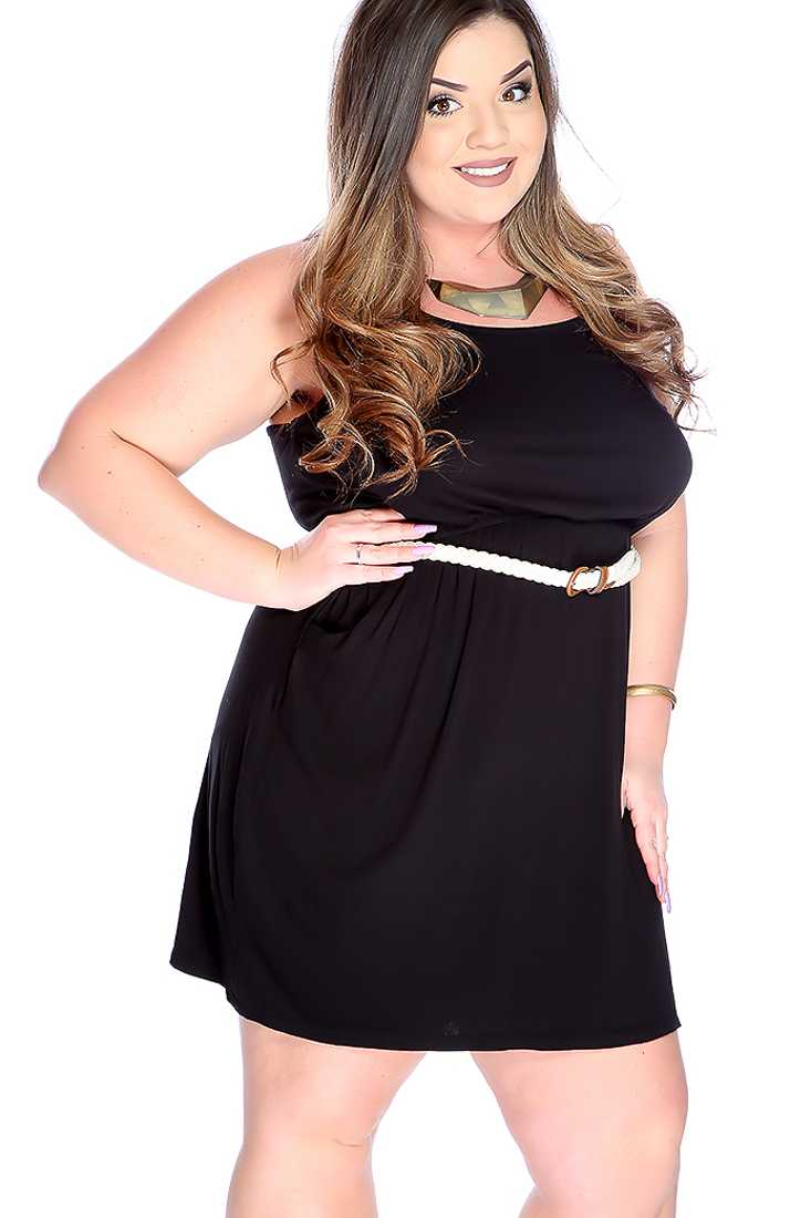 Sexy Black Racer Back Belted Plus Size Party Dress
