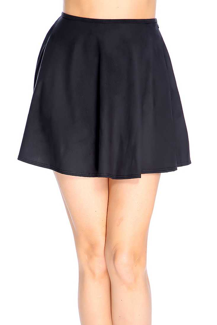 Black Faux Suede High Waist Skater Skirt