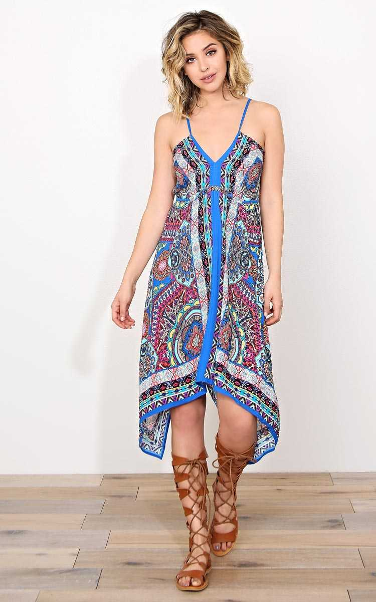 Spring Pace Woven Dress - LGE - Blue Combo in Size Large by Styles For Less