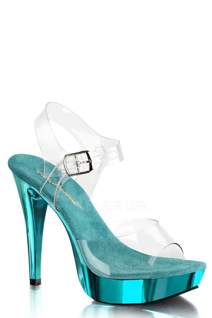 Clear Turquoise Strappy Chrome Platform High Heels PVC