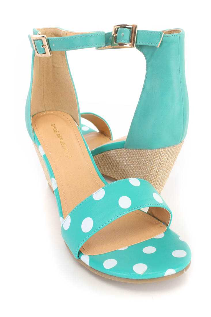 Green Polka Dot Open Toe Wedges Faux Leather