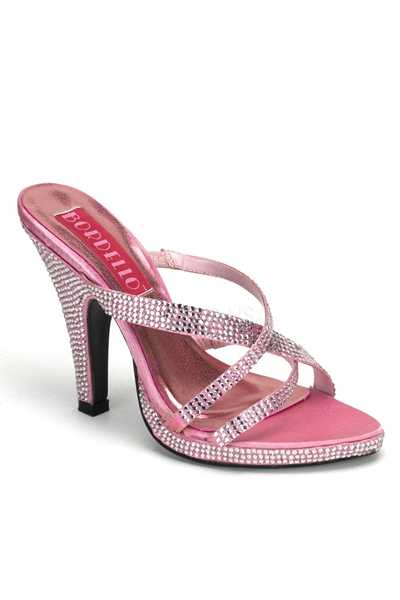 Baby Pink Rhinestone Studded Strappy Open Toe High Heels