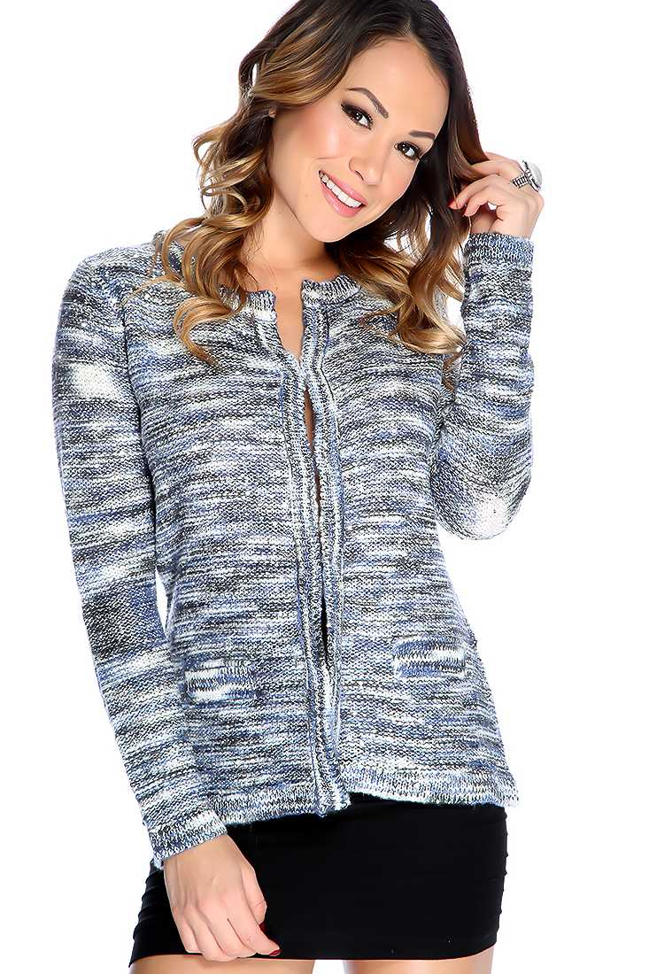 Silver Blue Long Sleeve Sequin Accent Cute Cardigan