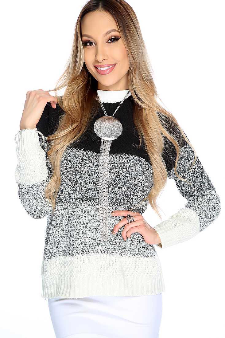 Stylish Black Beige Long Sleeve Mock Neck Two Tone Sweater