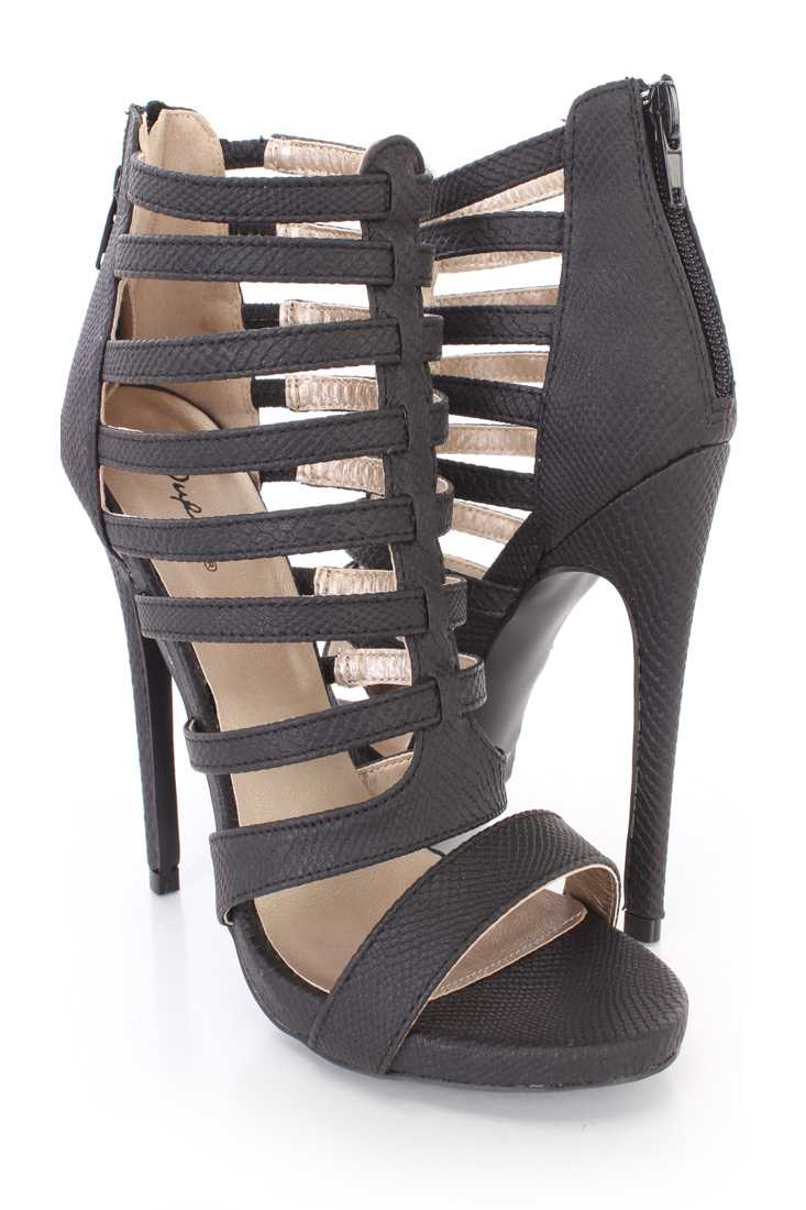 Black Strappy Snake Skin Textured Booties Faux Leather