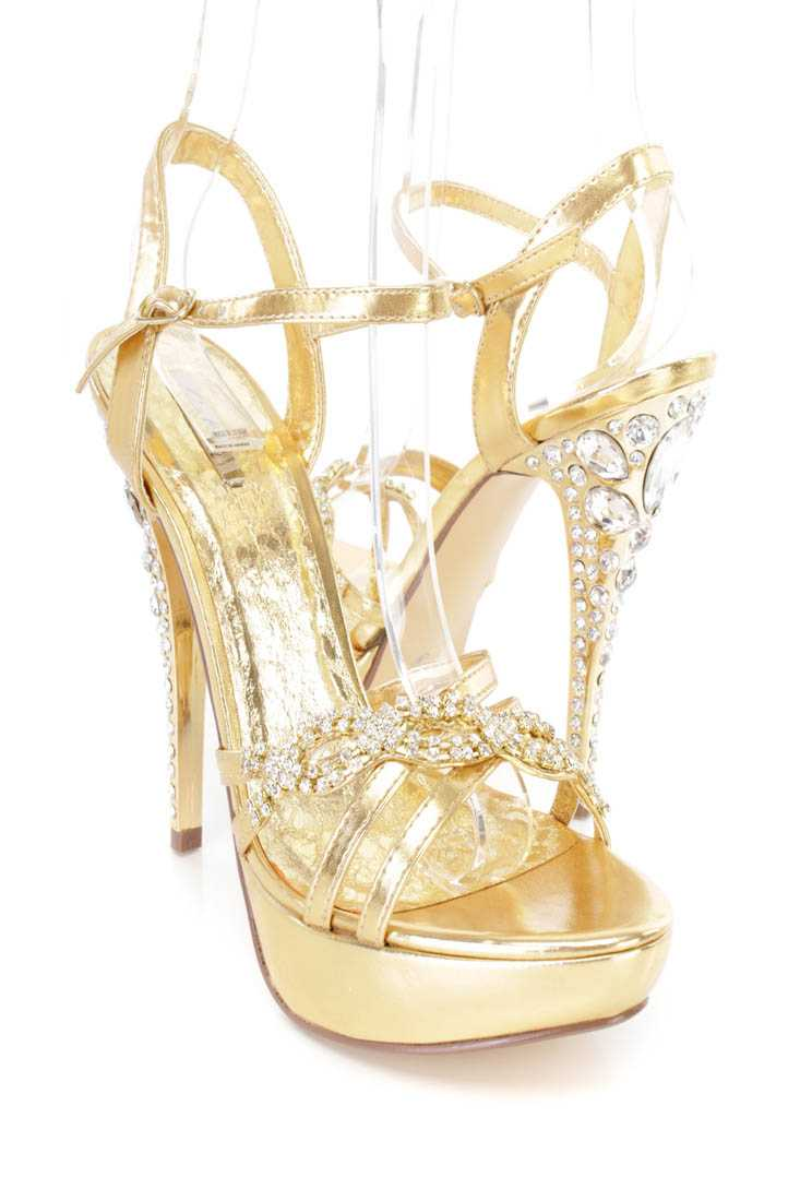 Gold Rhinestone Strappy Platform High Heels Faux Leather