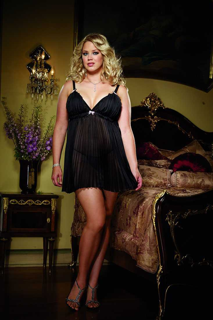 Black Pleated Chiffon Babydoll Lingerie Plus Size