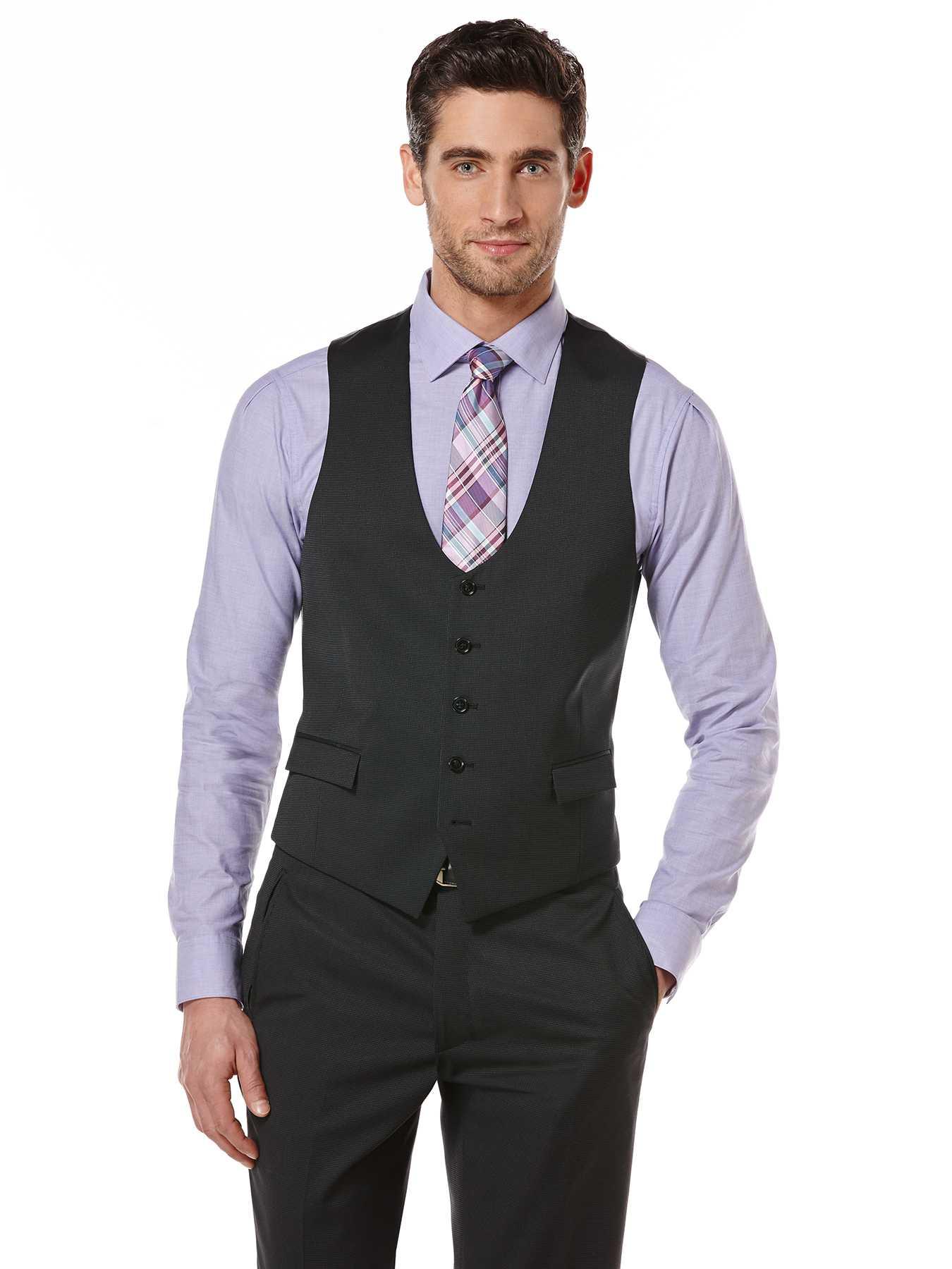 Perry Ellis Black Pindot Suit Vest
