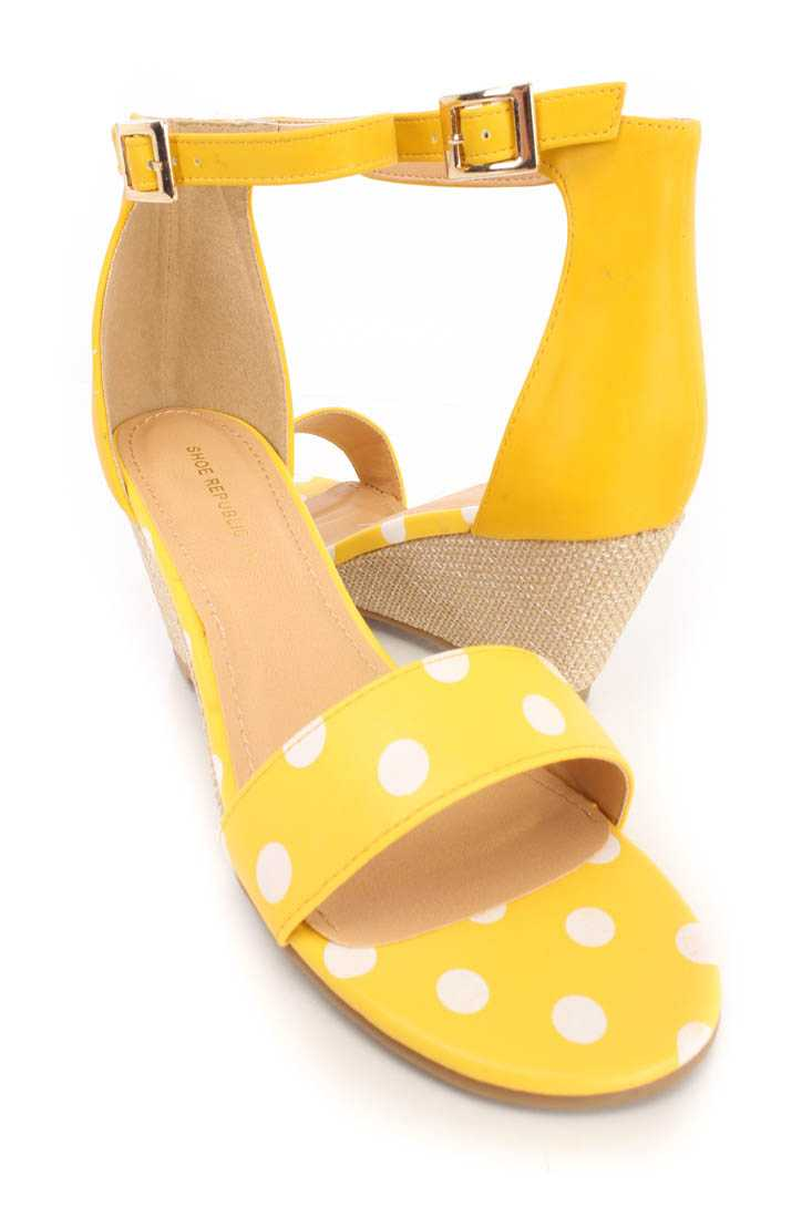 Yellow Polka Dot Open Toe Wedges Faux Leather