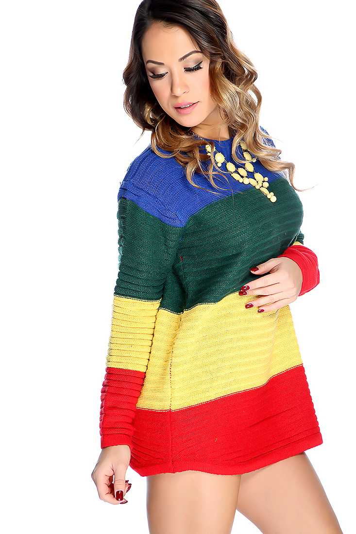 Blue Yellow Long Sleeve Color Block Oversized Sweater