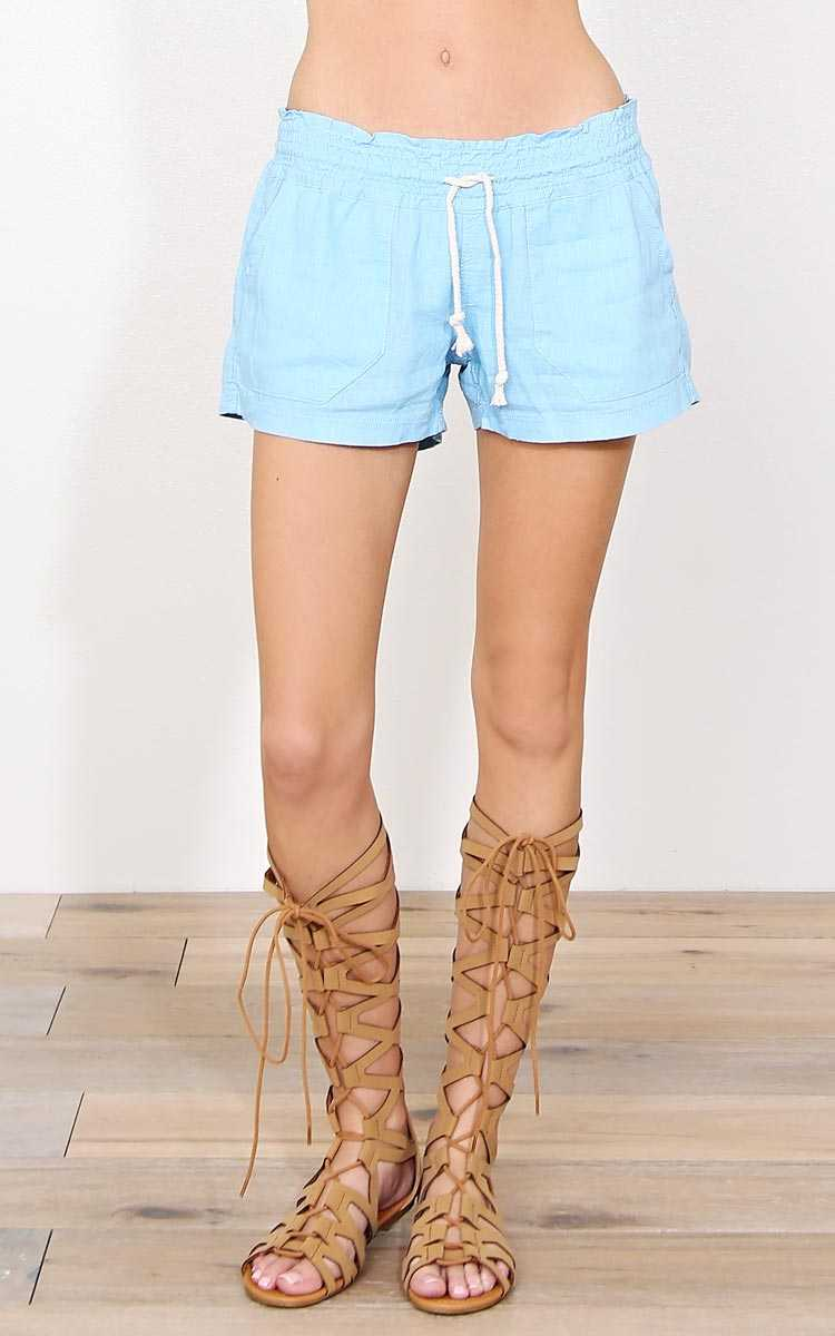 Blue Cape Cod Linen Shorts - - Lt Blue in Size by Styles For Less