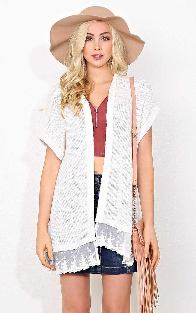 Love Song Slub Knit Kimono - SML - Ivry/Natrl in Size Small by Styles For Less