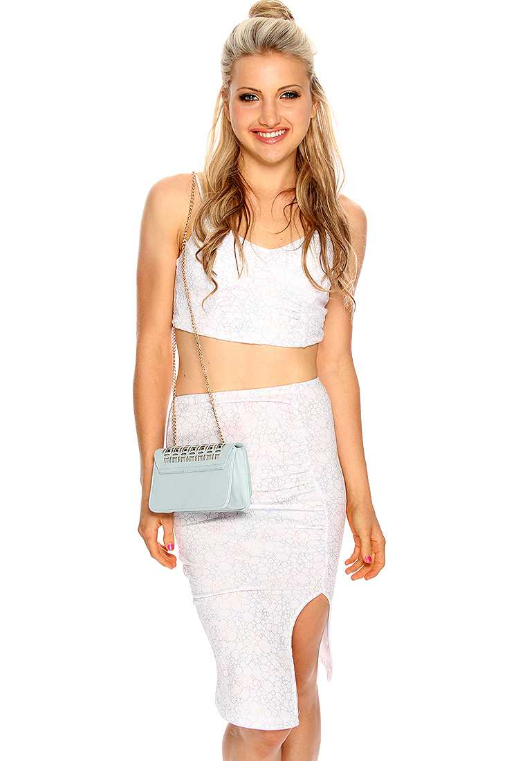 White Rainbow Metallic Design Two Piece