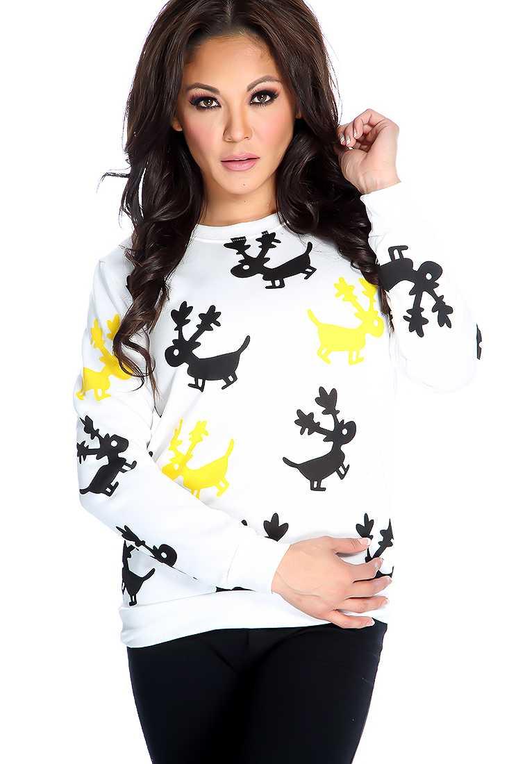 White Long Sleeve Animal Print Sweater