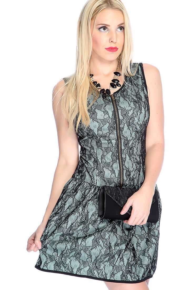 Sexy Mint Black Sleeveless Lace Overlay Two Tone Front Zipper Closure Party Dress