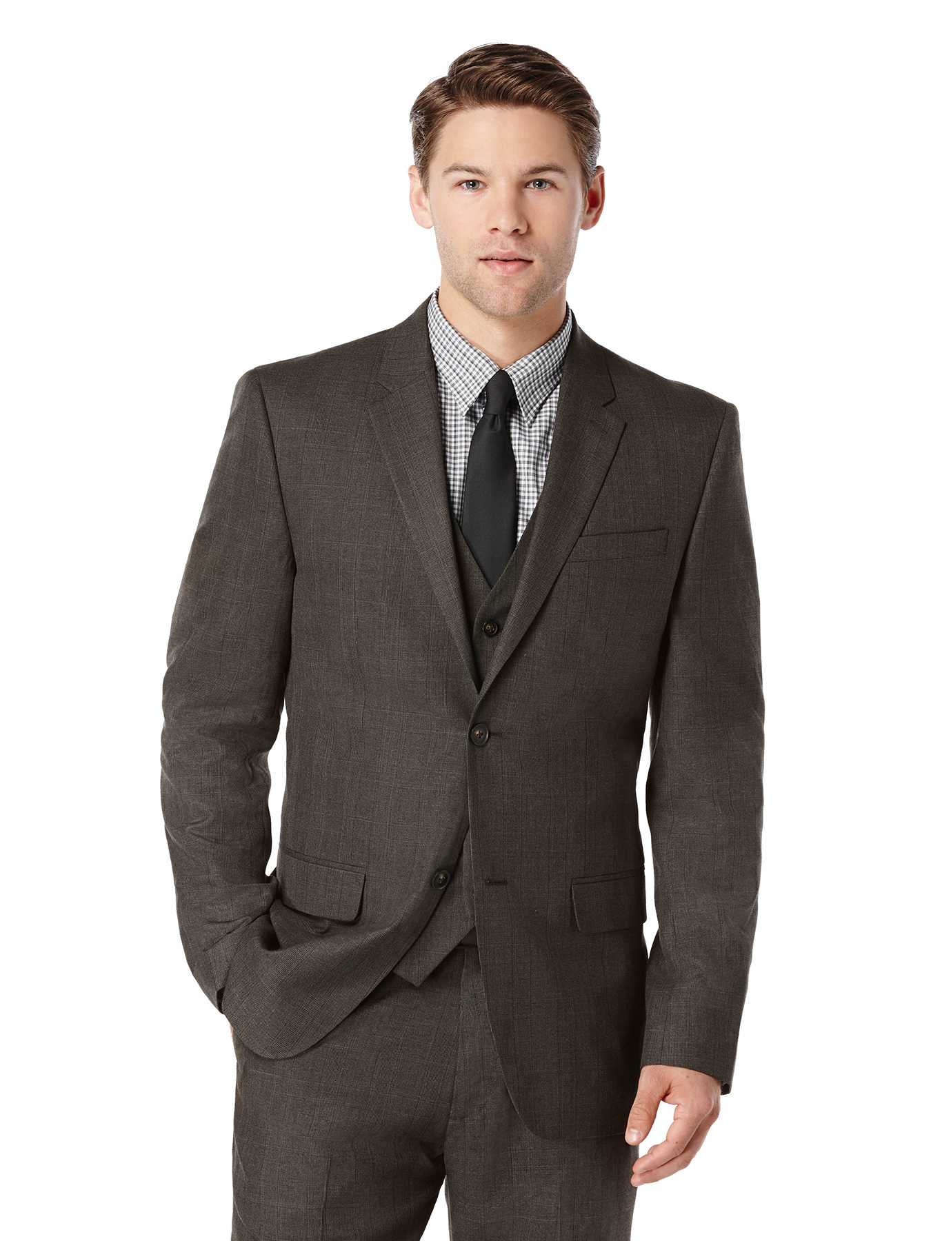 Perry Ellis Regular Fit Tonal Plaid Suit Jacket