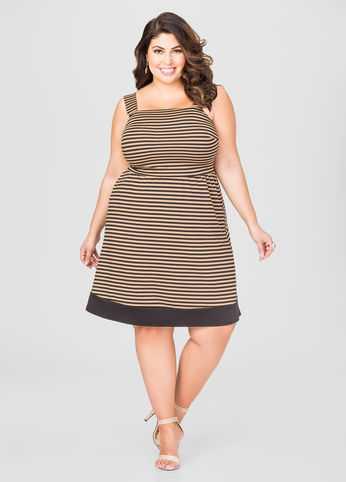 Blocked Hem Striped Dress