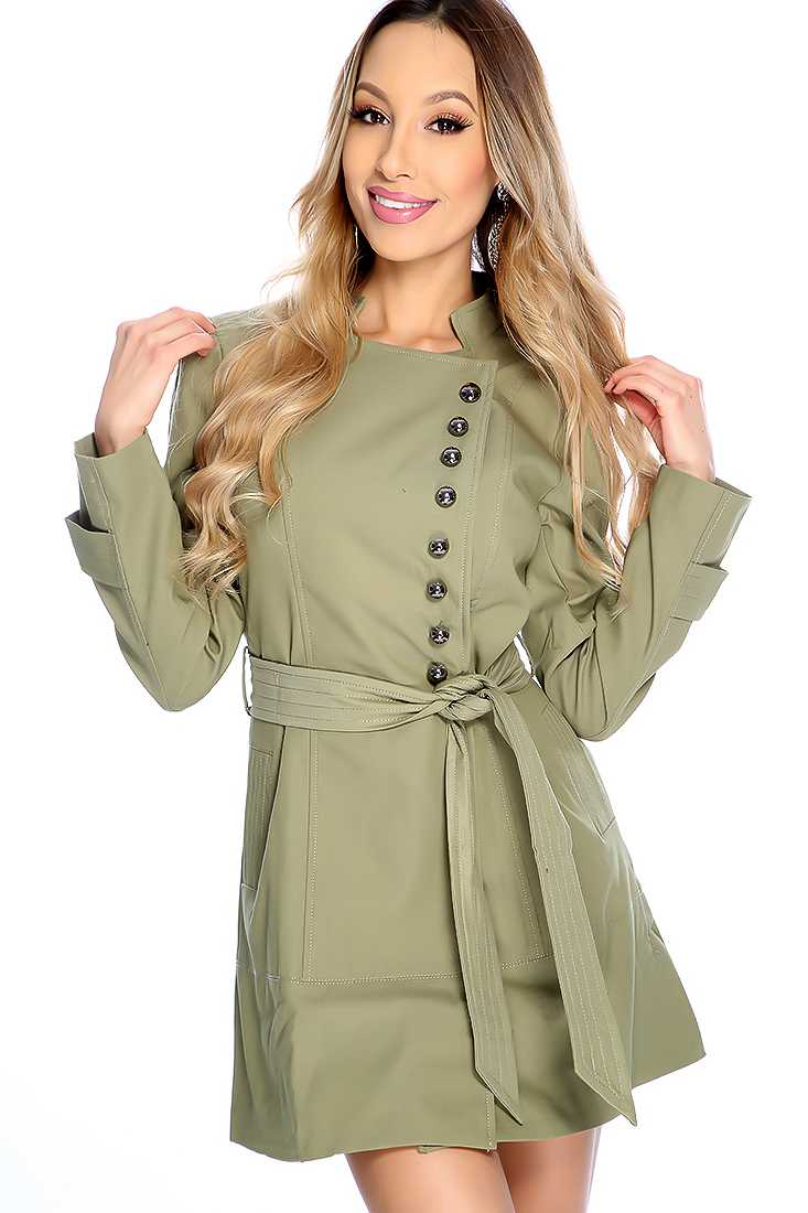 Army Green Asymmetrical Button Up Trench Coat Outerwear