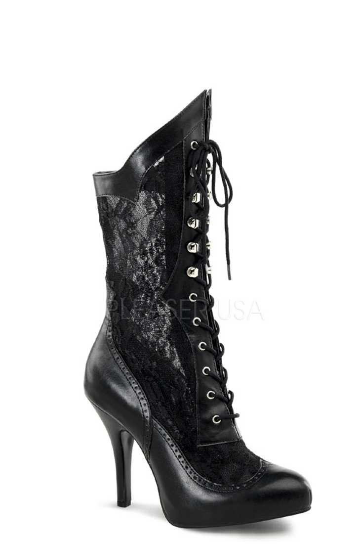 Black Lace Wide Width Victorian Style Boots Faux Leather