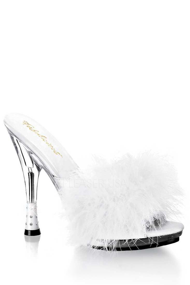 White Marabou Trim Cone Slipper High Heels Satin