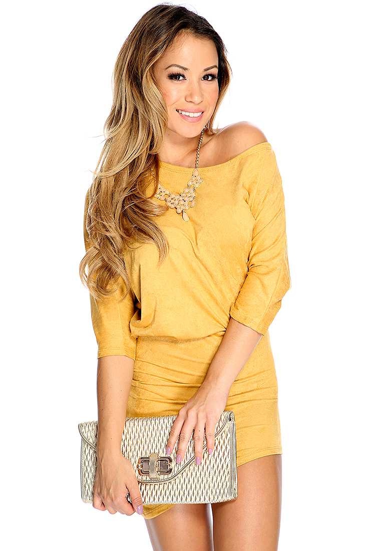 Sexy Cute Mustard Quarter Sleeves Short Party Dress