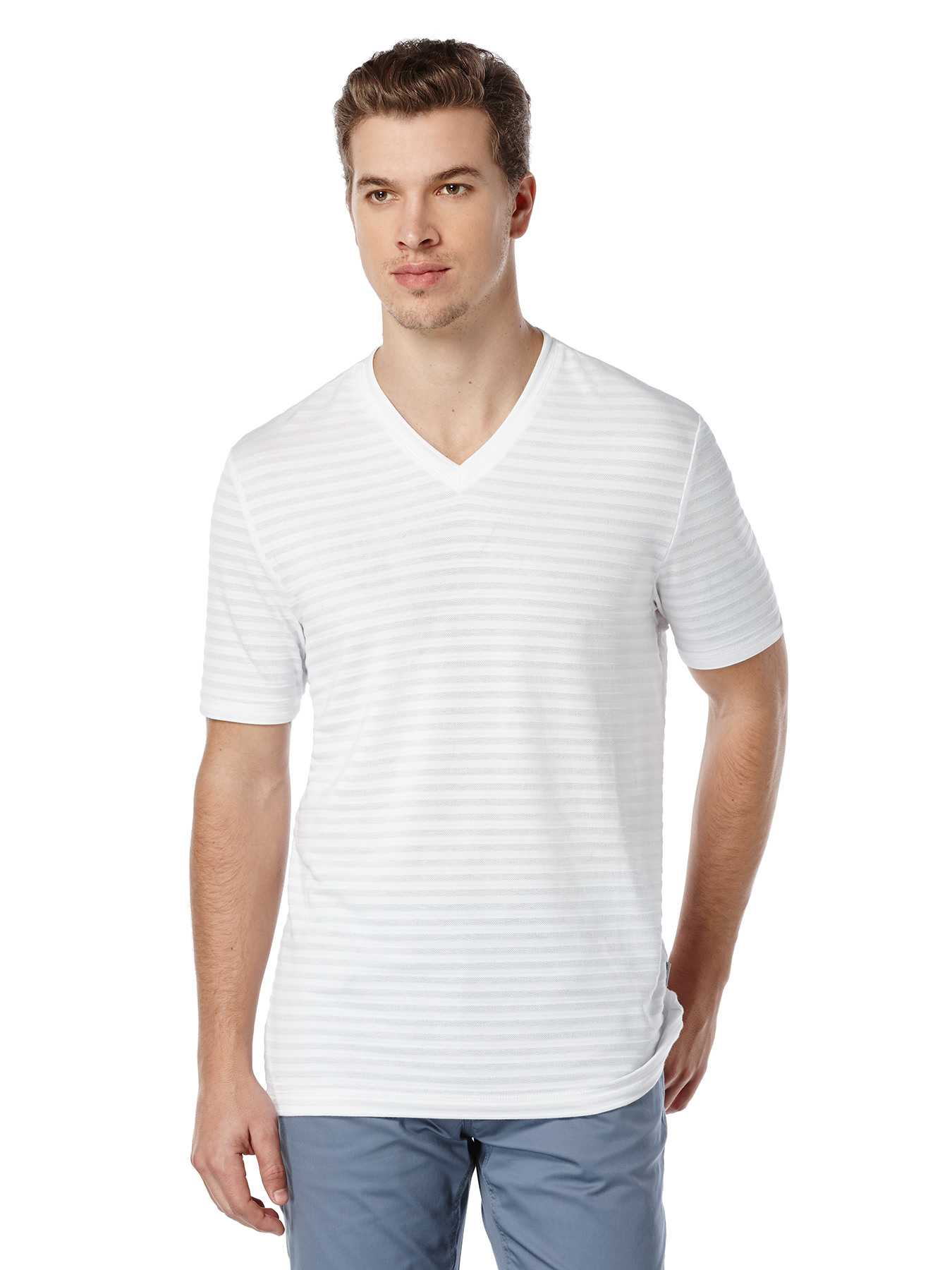 Perry Ellis Short Sleeve Textured Stripe Shirt