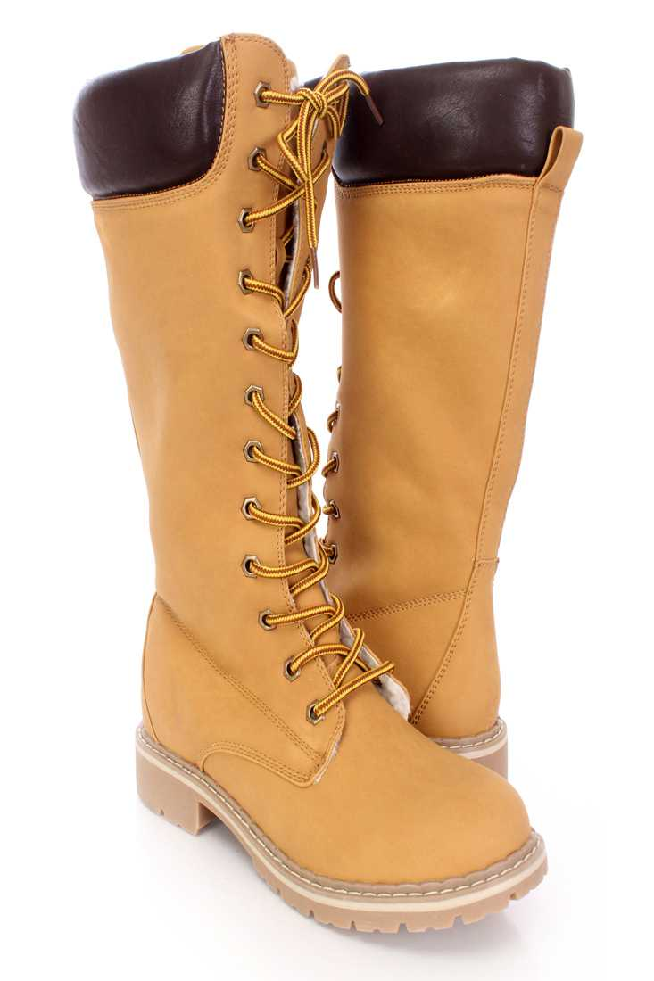 Camel Lace Up Mid Calf Boots Nubuck