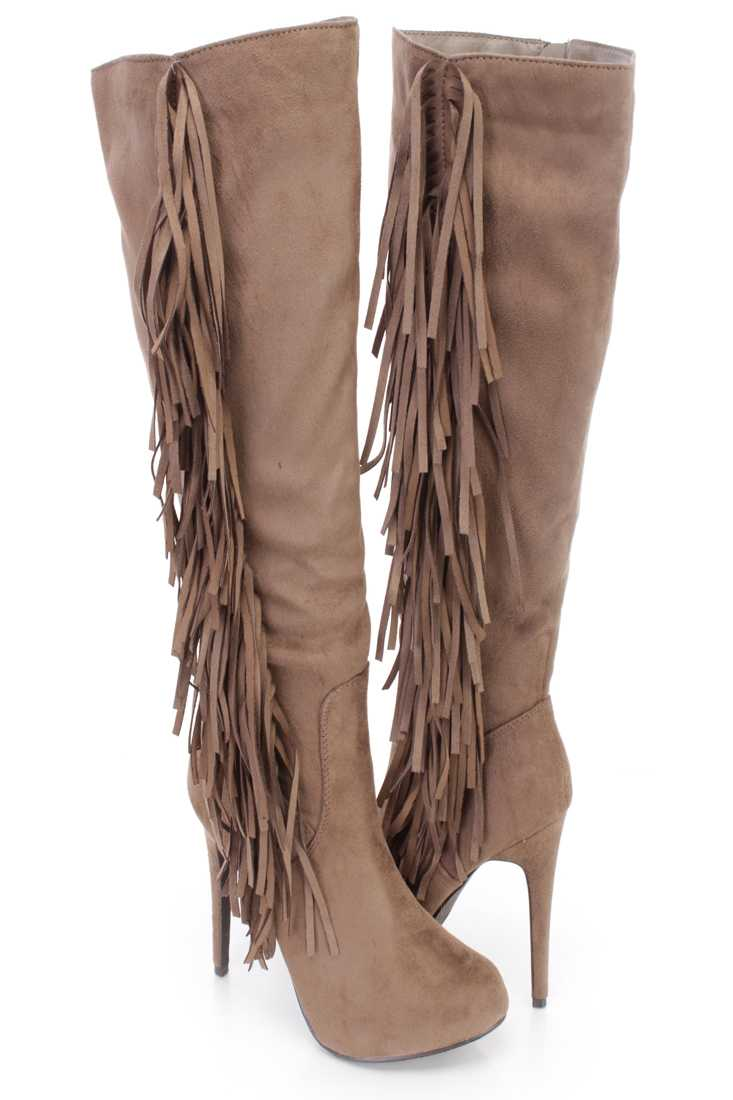 Grey Side Fringe Knee High Boots Faux Suede
