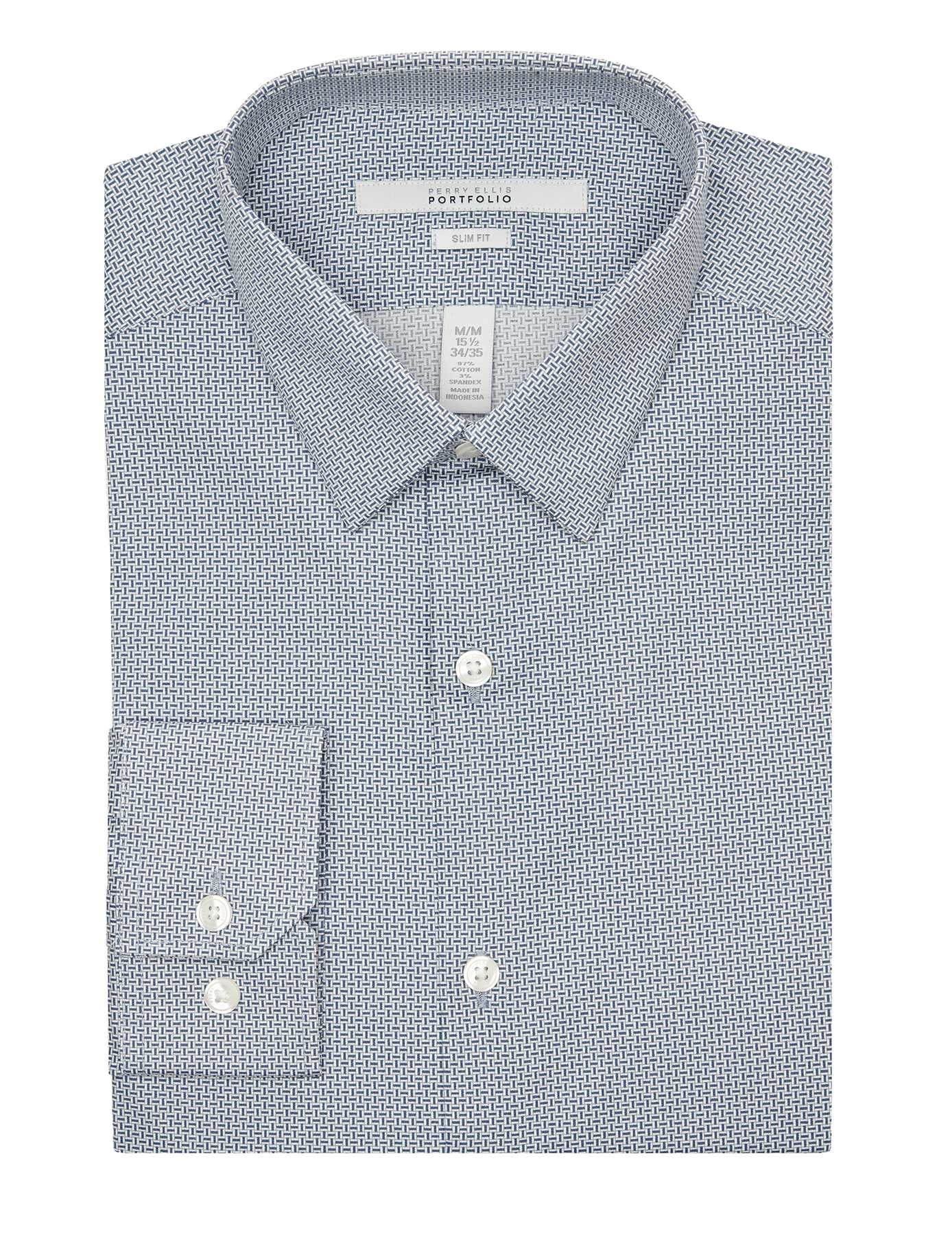 Perry Ellis Slim Fit Uneven Tile Dress Shirt