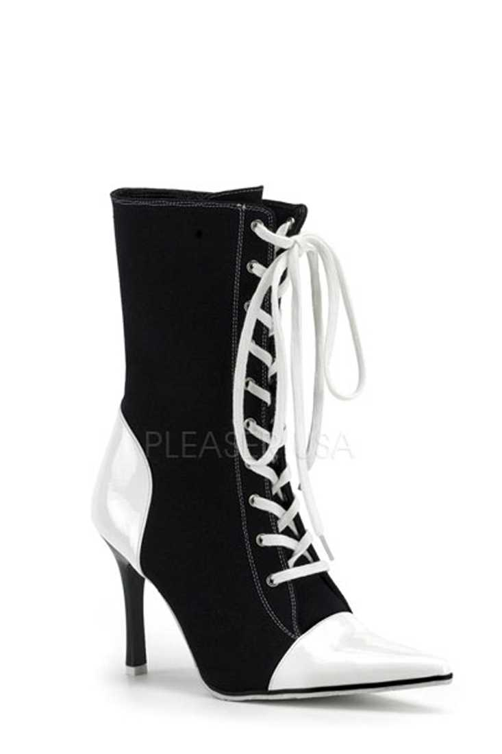 Black White Two Tone Referee Boots Canvas Patent