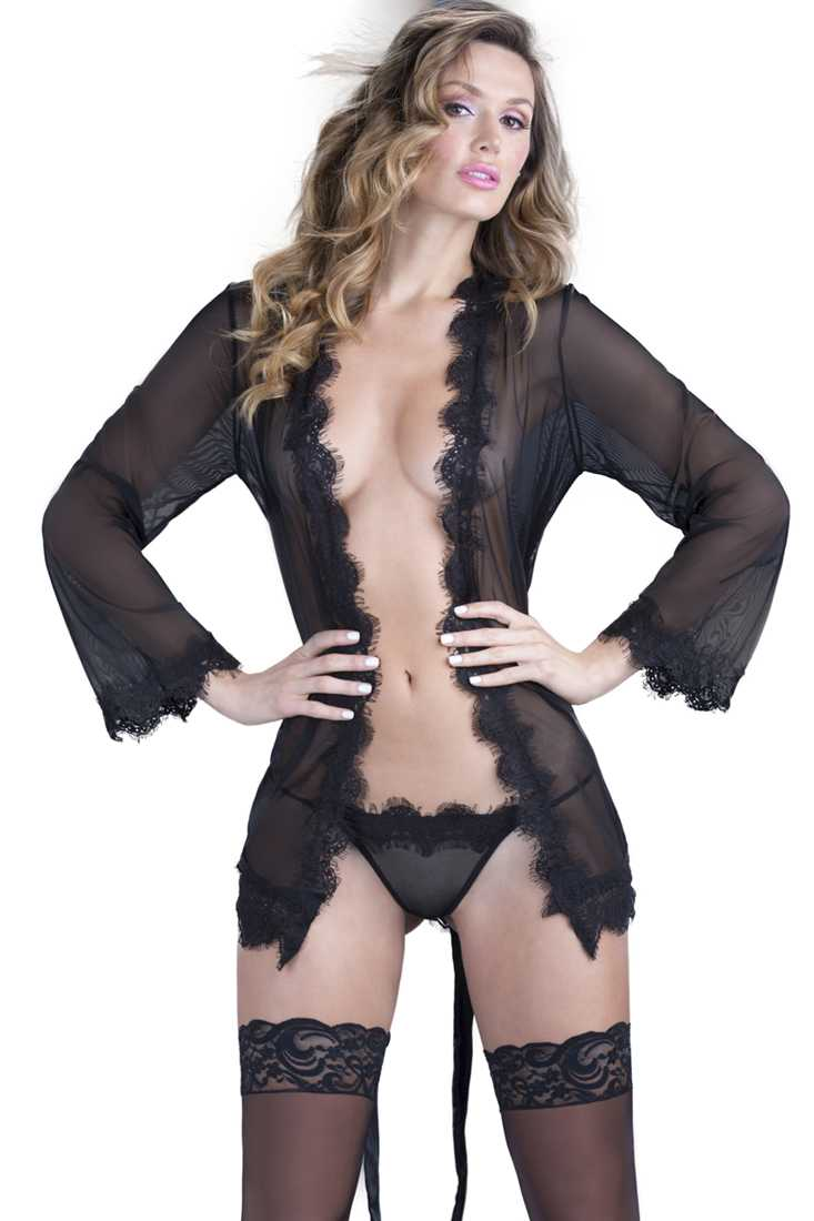Black Eyelash Lace Satin Robe 2Pc. Set Intimates