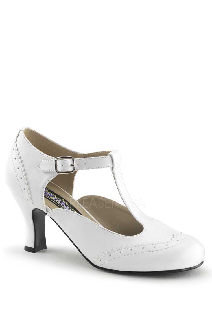 White T Strap Winged Toe High Heels Faux Leather