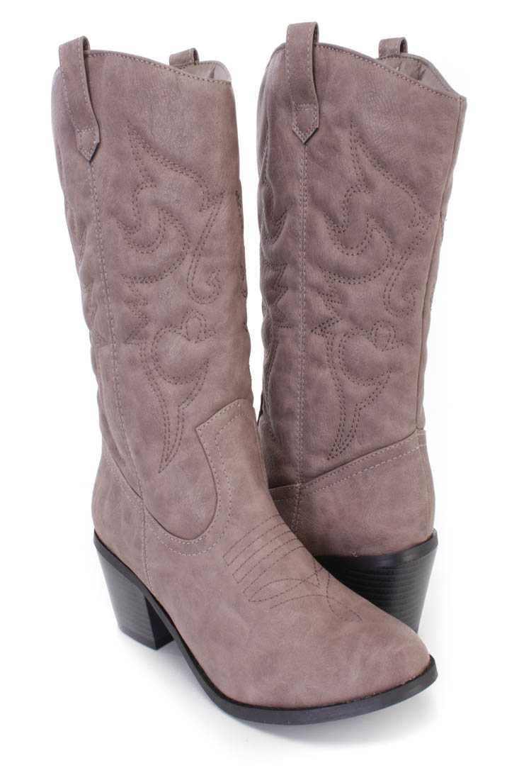 Grey Stitched Cowboy Style Boots Faux Leather