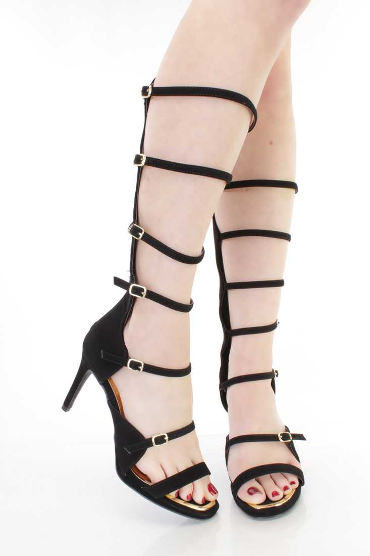 Black Strappy Single Sole Gladiator Heels Nubuck