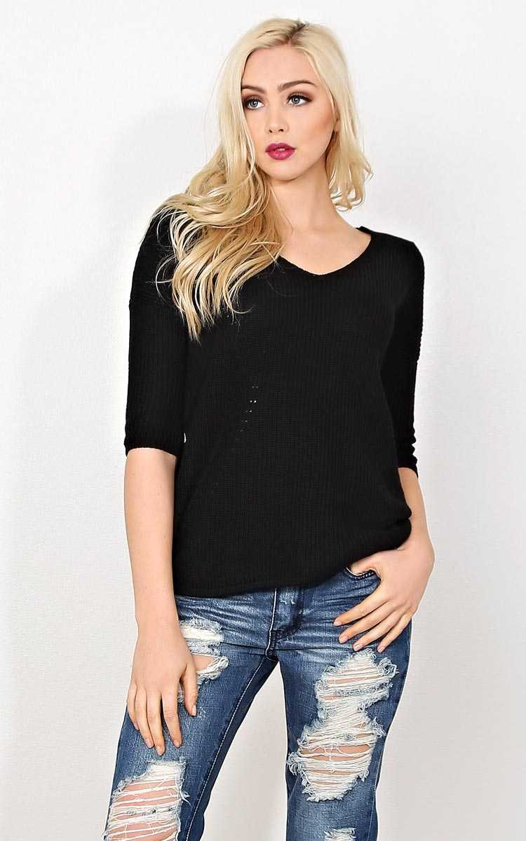 Cara Rib Knit Sweater Top - SML - Black in Size Small by Styles For Less