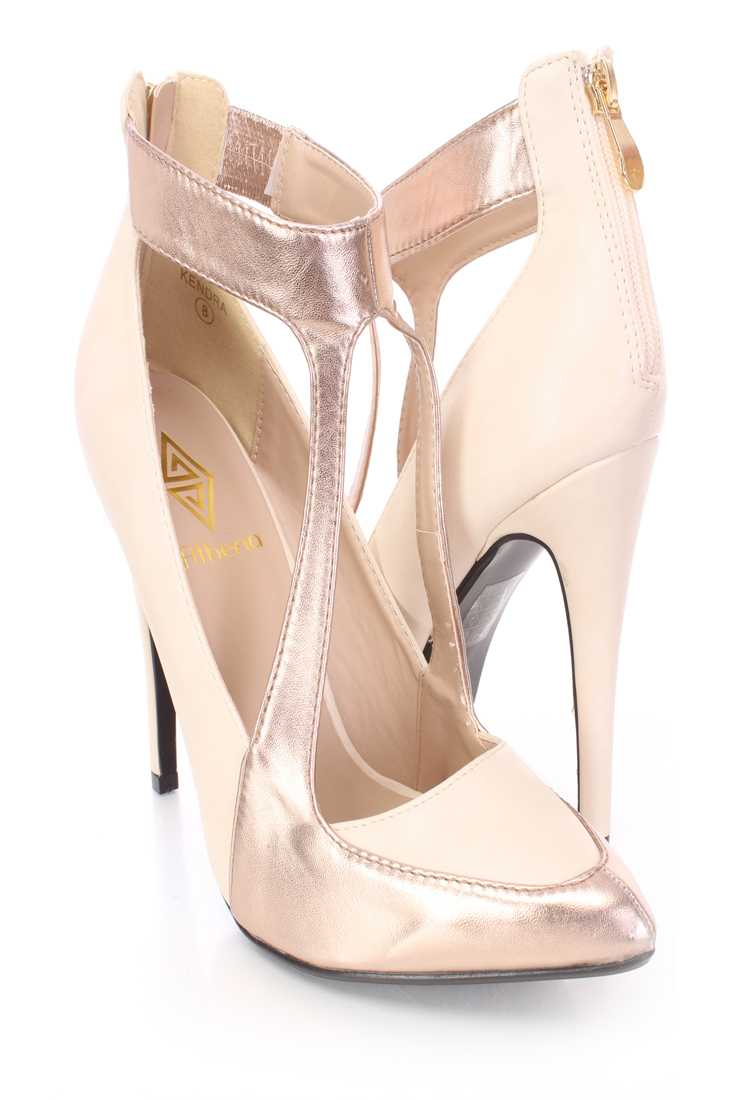 Beige Champagne Two Tone Single Sole Heels Faux Leather