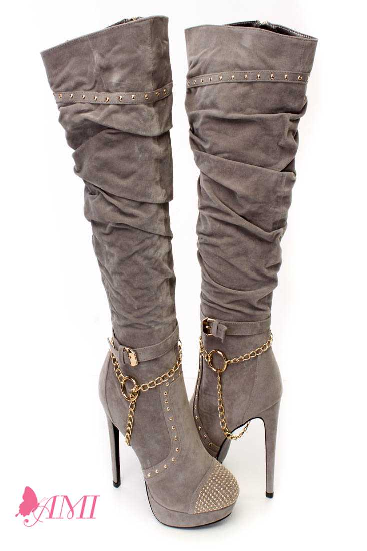 Grey Slouchy Studded Knee High Heel Boots Faux Suede